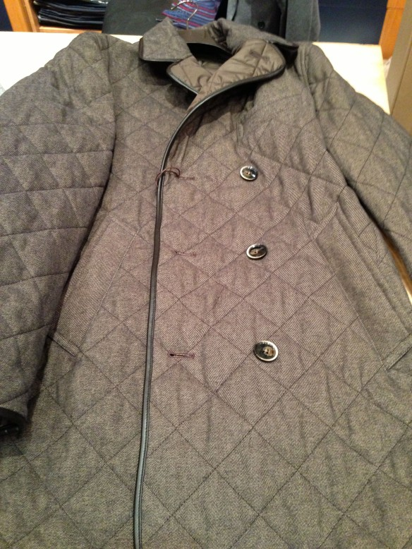 One and a Half Breasted Quilted Coat