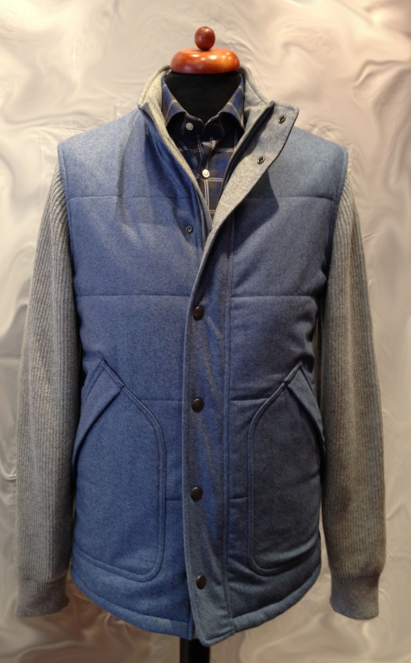 Flannel Jacket with Knitted Sleeves Mid Blue