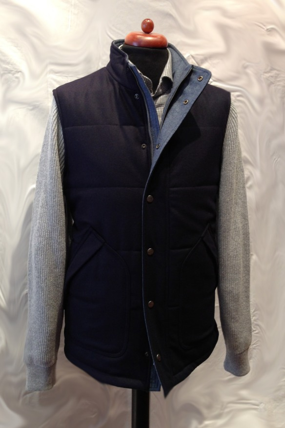 Flannel Jacket with Knitted Sleeves Navy