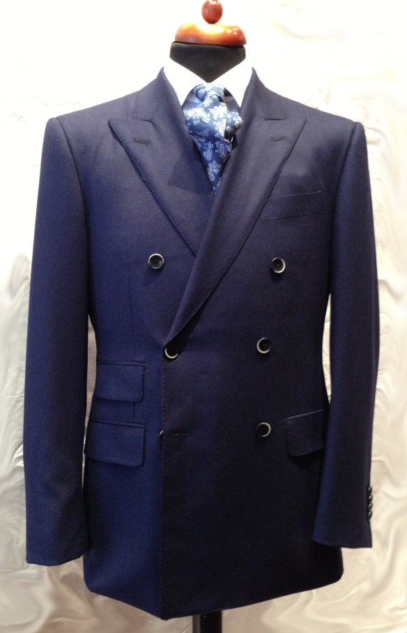 Royal Blue Flannel Double Breasted Suit