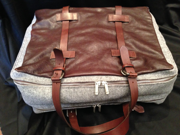Grey Flannel with Leather trim Weekend Bag