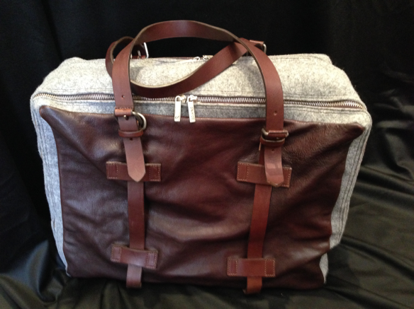 Grey Flannel with Brown Leather trim