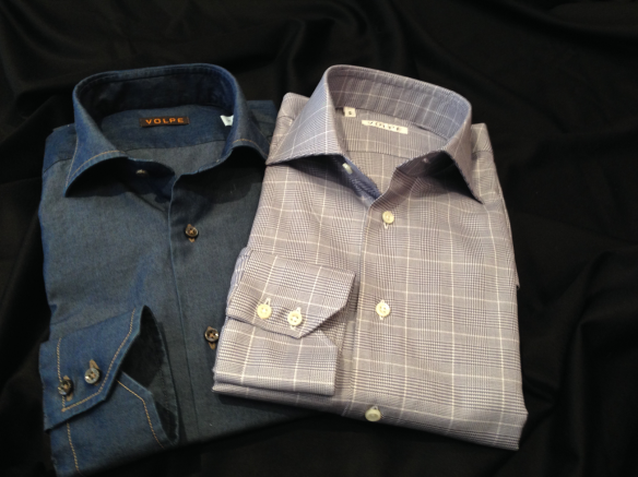 Dark Denim Blue Cotton with Brown stitching alongside a Dark Blue Cotton Prince of Wales check