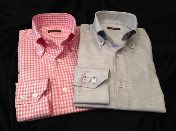 Pink Cotton Gingham check alongside Silver lightly Brushed Cotton