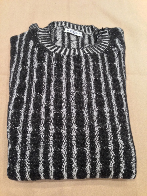 Charcoal and White Cashmere and Cotton Cable