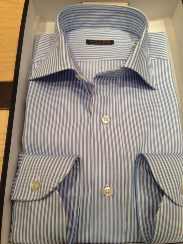 Pale Blue and White Wide Stripe in Cotton