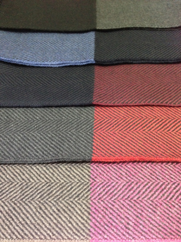 Herringbone contrast ended scarves