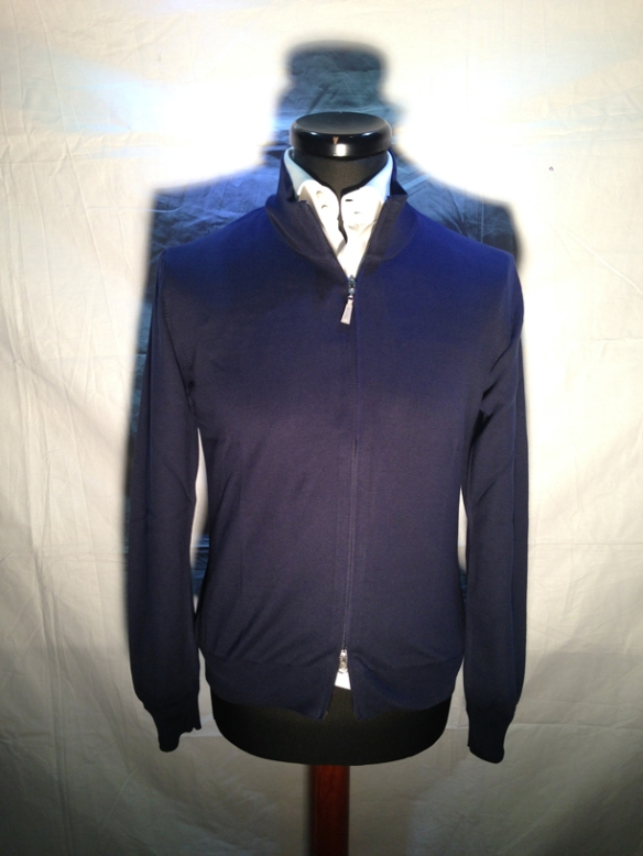 Navy Blue cotton zip cardigan