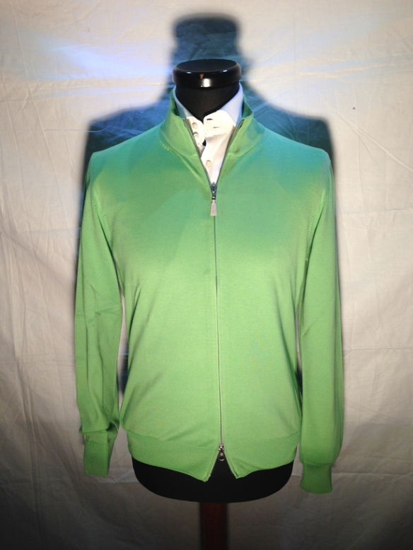 Light Green cotton zip cardigan