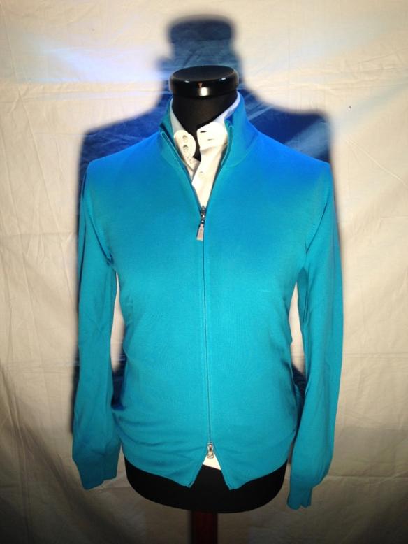 Light Blue cotton zip cardigan