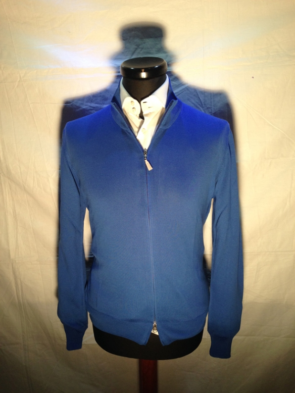 Mid Blue cotton zip cardigan