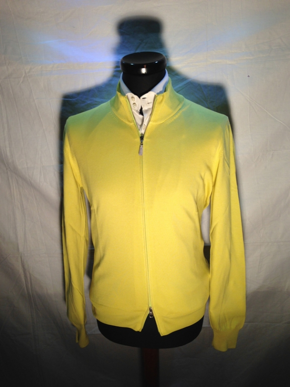 Yellow cotton zip cardigan