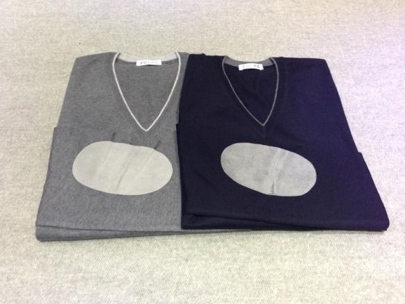 Grey and Navy Blue V-necks with Alcantara elbow patch