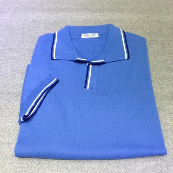 Light Blue cotton t-shirt with trim