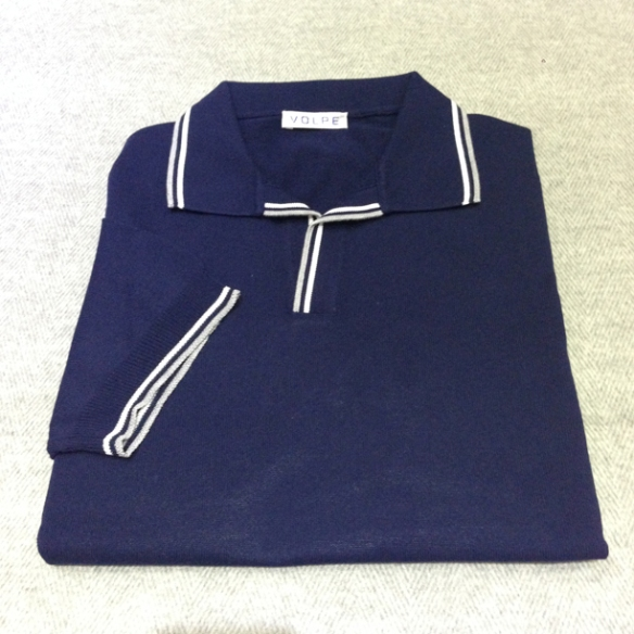 Blue cotton t-shirt with trim