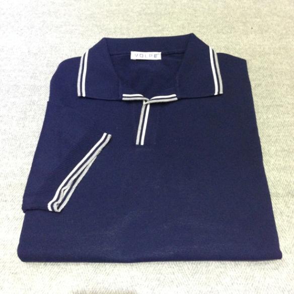 Blue cotton t-shirt with trim