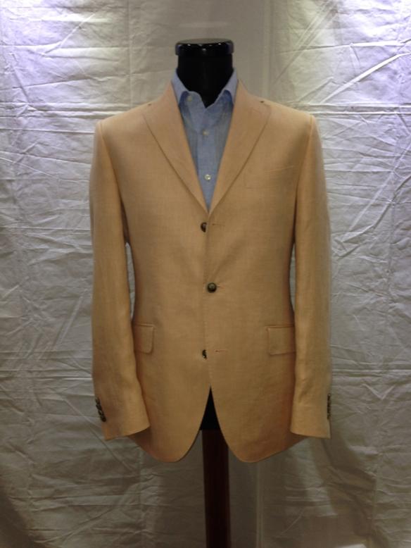 Peach Herringbone half-lined linen jacket (100% linen)
