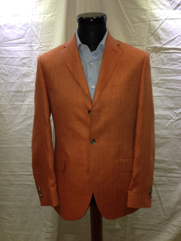 Burnt Orange Herringbone linen half-lined jacket (100% linen)