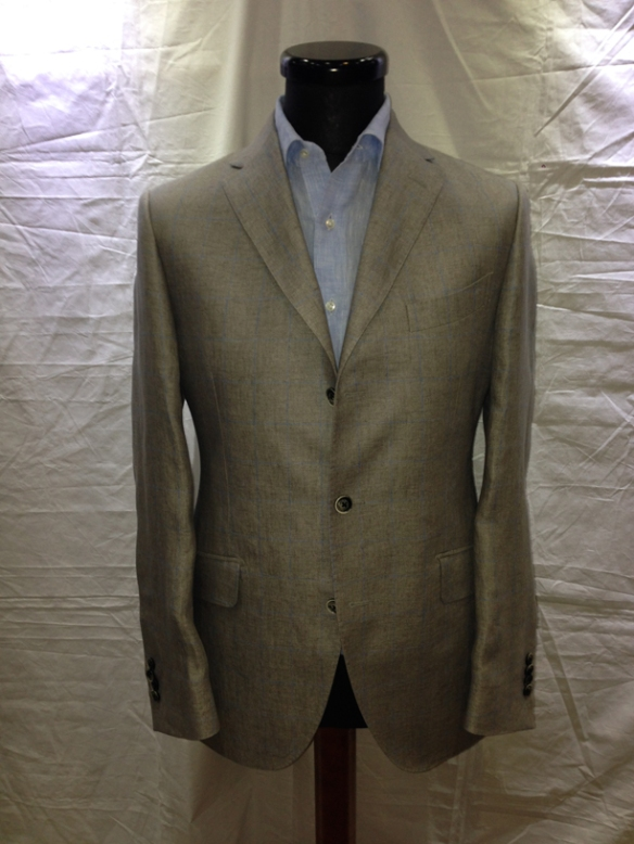 Grey with Light Blue check half-lined linen jacket (100% linen)