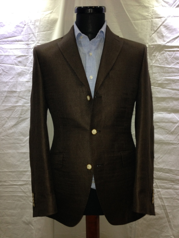 Brown linen / wool hopsack unlined jacket with elbow patch (75% linen / 25% wool)