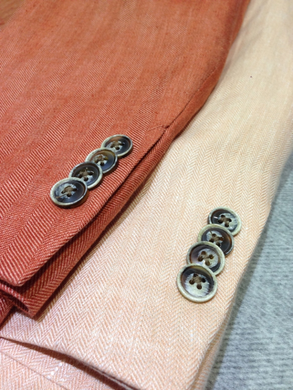 Burnt Orange Herringbone linen half-lined jacket (100% linen) and Peach Herringbone half-lined linen jacket (100% linen) - Close up