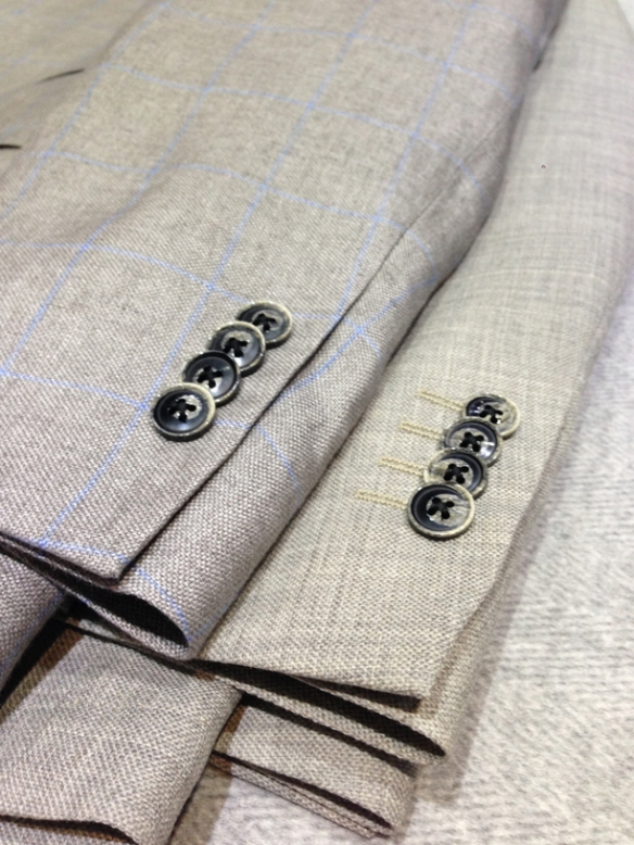 Grey with Light Blue check half-lined linen jacket (100% linen) and Light Grey wool/cotton unlined jacket (70% wool / 30% cotton) - Close up