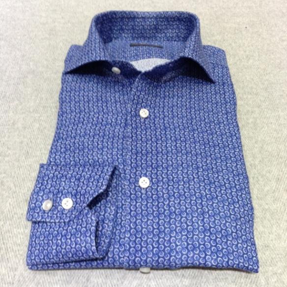 Blue printed circle linen (100% linen)