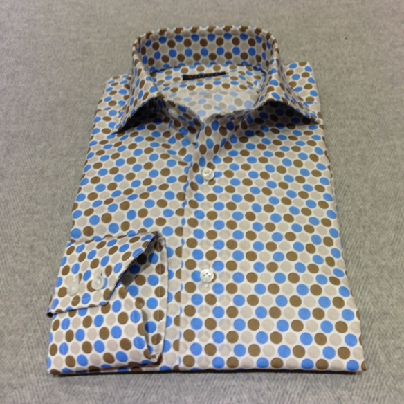 Brown and Blue spotted cotton (100% cotton)