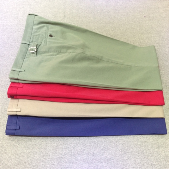 Pale Green, Red, Beige and Mid Blue washable stretch cotton trousers with side adjuster detail (98% cotton / 2% lycra)
