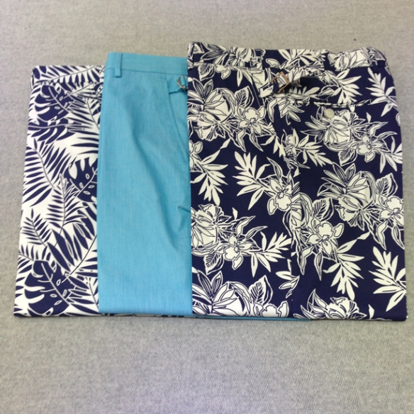 Floral design stretch cotton (97% cotton / 3% lycra) and Light Blue cotton trousers (100% cotton)