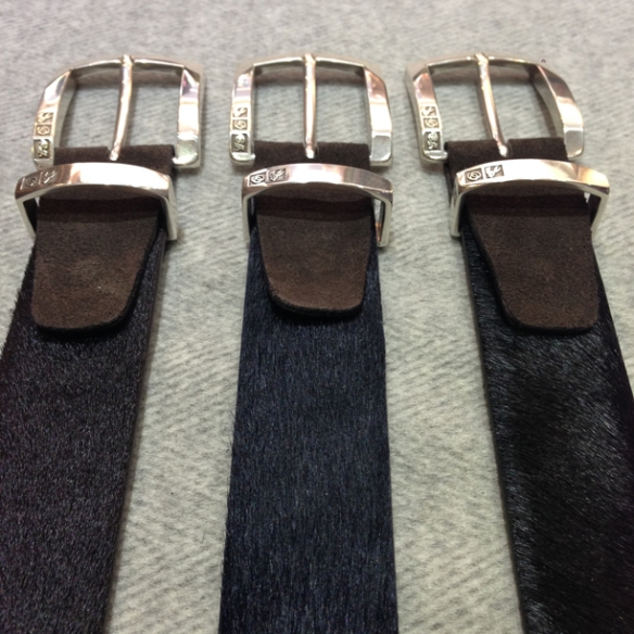 Dark Brown, Navy Blue and Black Pony skin belts with Dark Brown suede