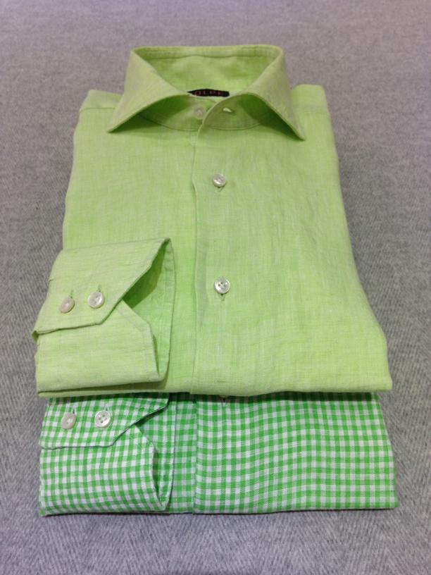 Green linen (100% linen) and Green gingham check linen (100% linen)