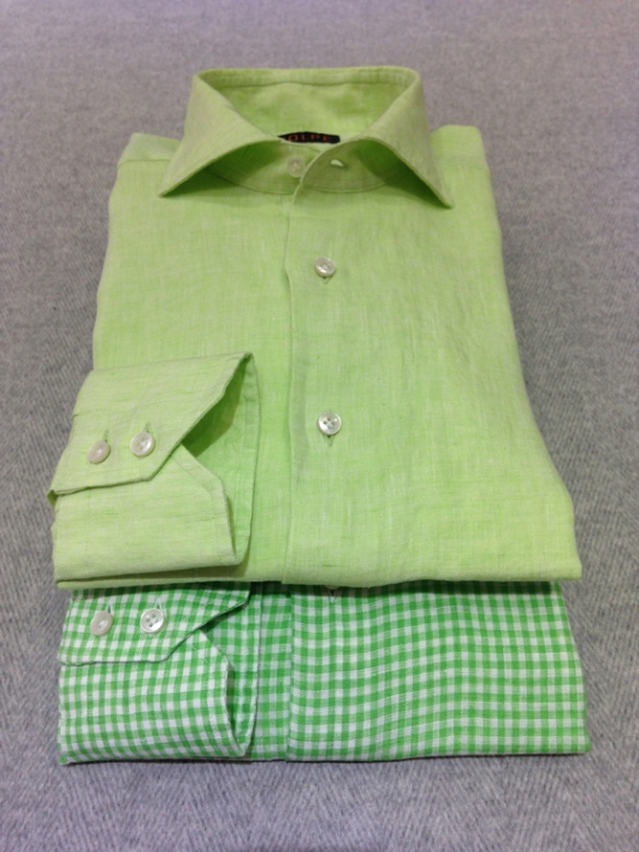 Green linen (100% linen) and Green gingham check linen (100% linen)