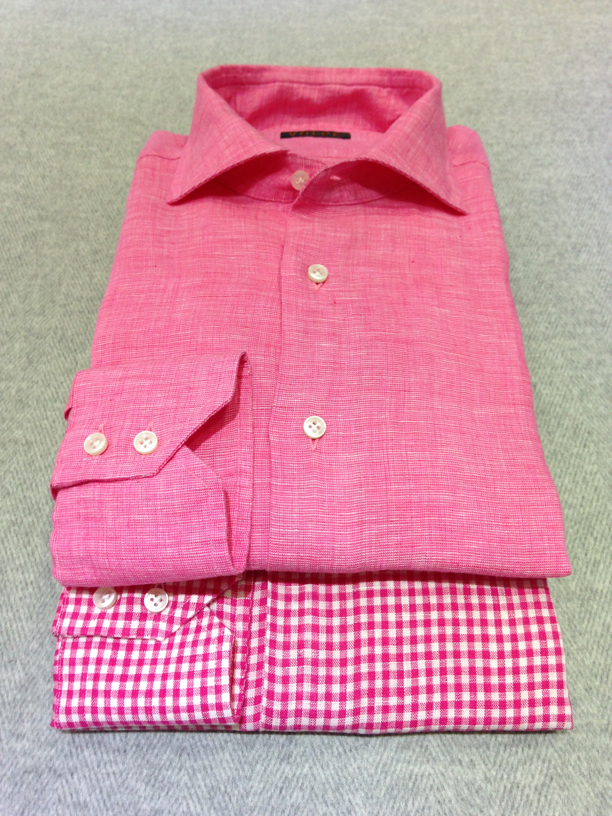 Fuscia linen (100% linen) and Red gingham check linen (100% linen)