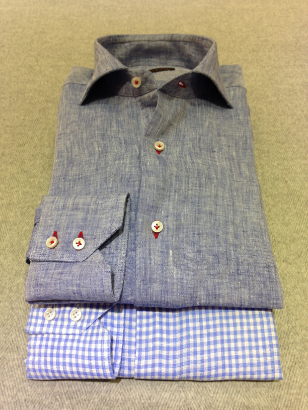 Blue linen with Red buttonholes (100% linen) and Blue gingham check linen (100% linen)
