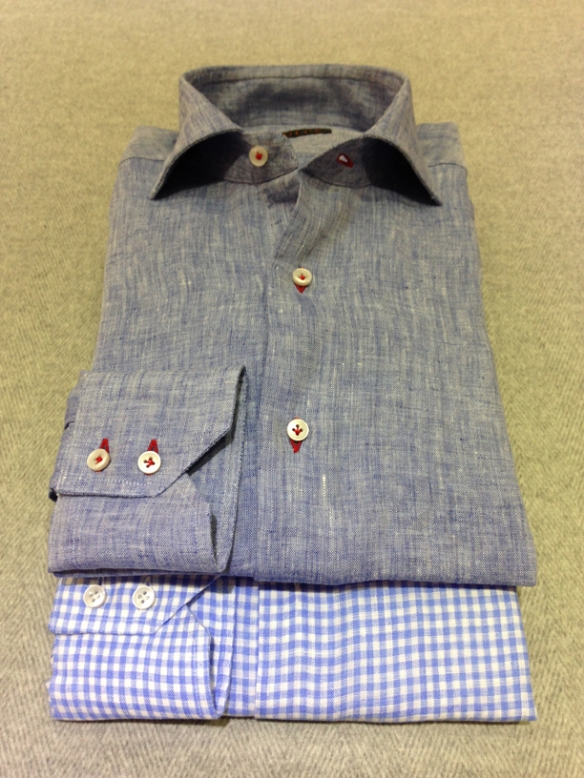 Blue linen with Red buttonholes (100% linen) and Blue gingham check linen (100% linen)