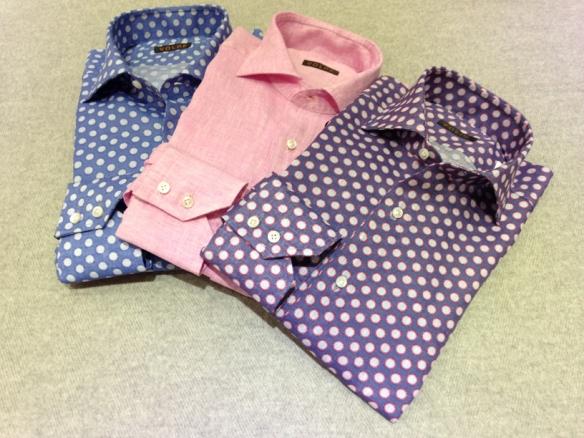 Spotted linen (100% linen) and Pink Linen (100% linen)