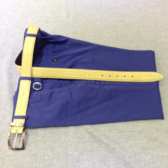 Washed Blue cotton Yellow belt