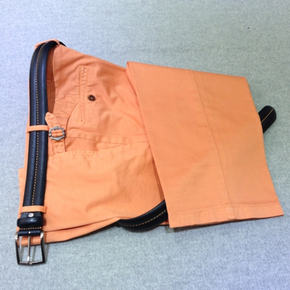 Washed Orange cotton Navy Blue with Orange stitch belt