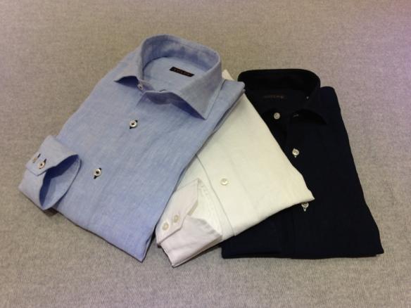Light Blue linen with Dark Blue buttonholes (100% linen), White linen (100% linen) and Navy Blue linen (100% linen)