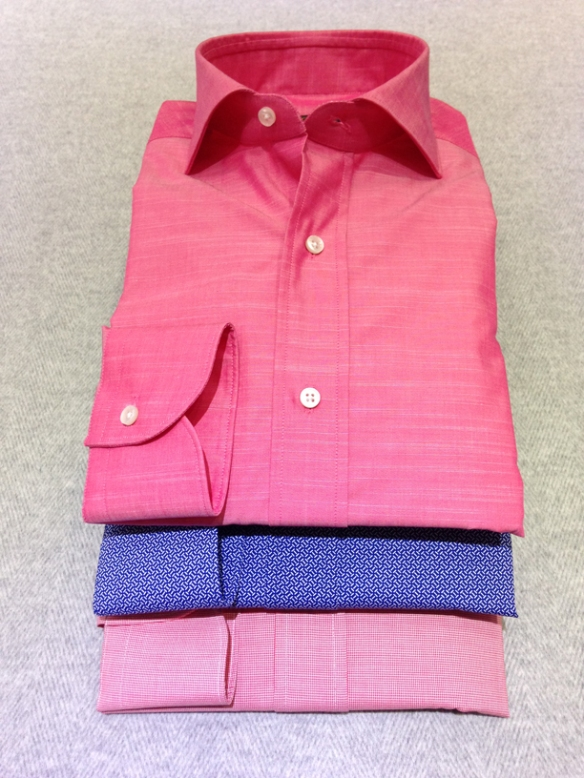 Pink cotton (100% cotton), Blue printed design cotton (100% cotton) and Red micro-dogtooth cotton (100% cotton)