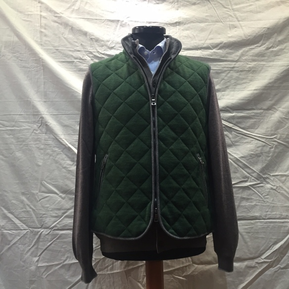 Loden Green wool Hollofil quilted Gilet