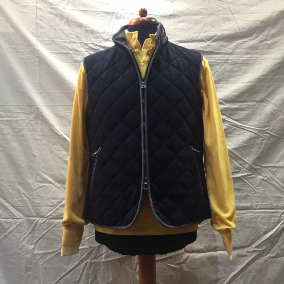 Navy Blue wool Hollofil quilted Gilet