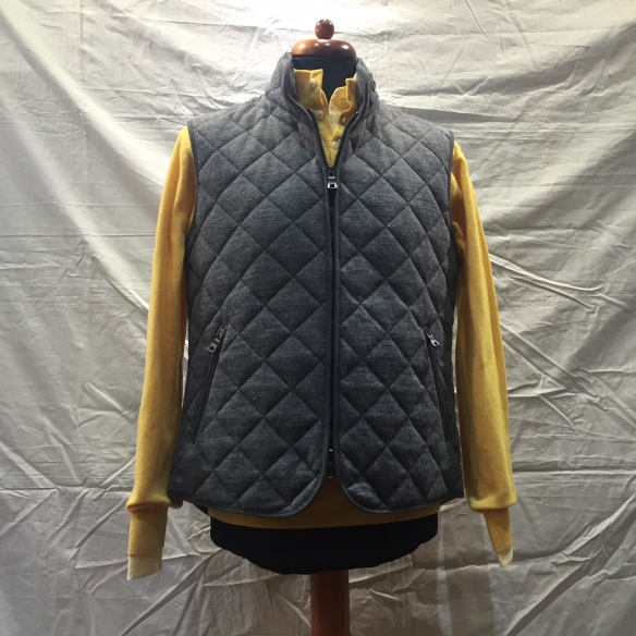 Grey wool Hollofil quilted Gilet