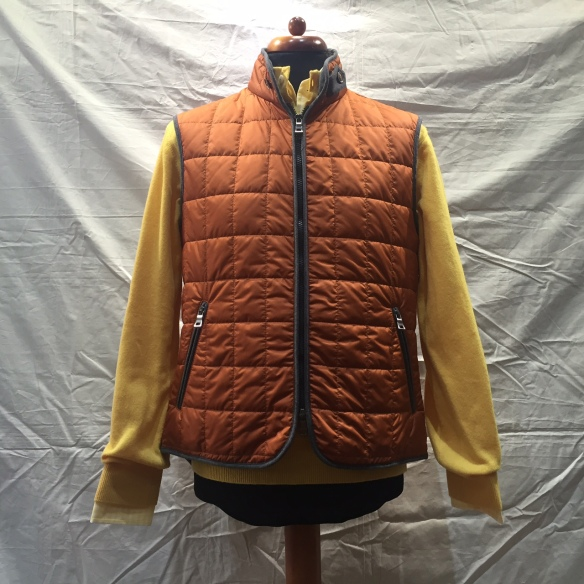 Orange nylon Hollofil square check Gilet