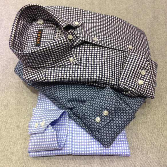 Large Birdseye Brushed cotton with Dark and Light Blue Patterned shirts