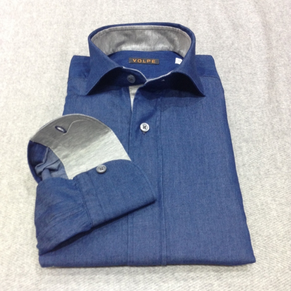 Denim Blue shirt with Light Grey Jersey trim