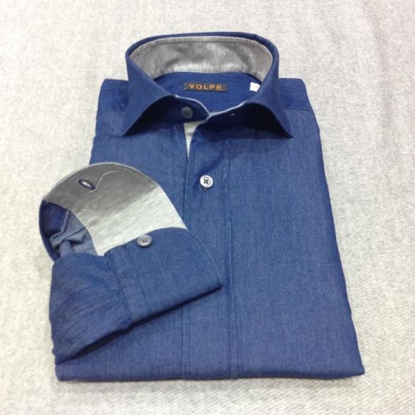 Denim Blue shirt with Light Grey Jersey trim