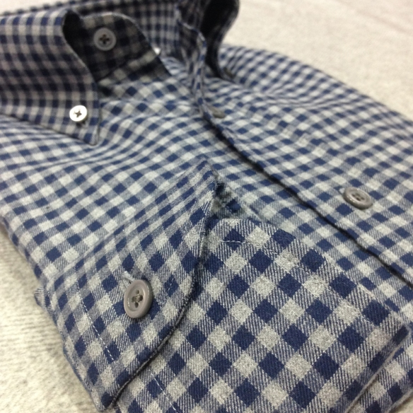 Grey & Blue Brushed cotton Button Down