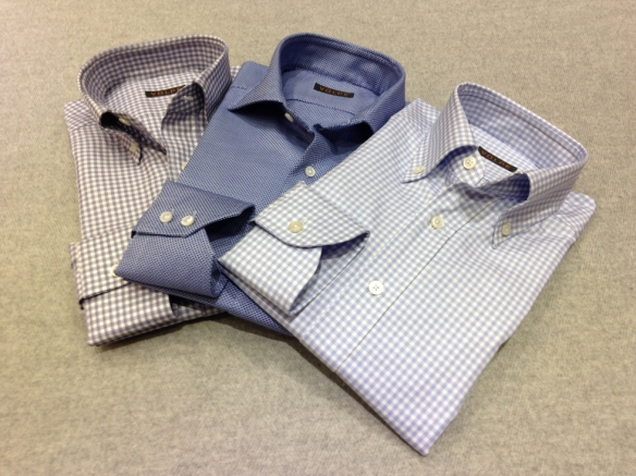 Mid Blue and Light Blue Gingham checks with Mid Blue patterned shirt